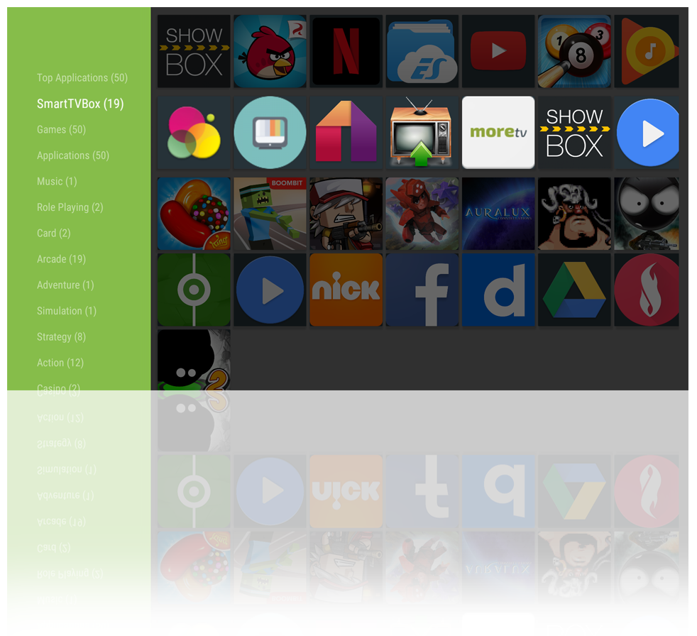 Browse by category or see the most popular apps in the SmartTVBox App Store